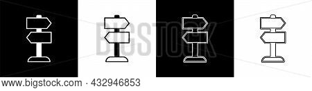 Set Road Traffic Sign. Signpost Icon Isolated On Black And White Background. Pointer Symbol. Isolate