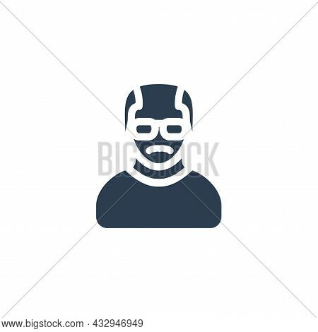 Grandfather Avatar, Old Man Solid Flat Icon. Vector Illustration