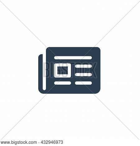 Newspaper, Daily Press, News Content, Article Solid Flat Icon. Vector Illustration