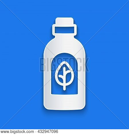 Paper Cut Essential Oil Bottle Icon Isolated Paper Cut Background. Organic Aromatherapy Essence. Ski