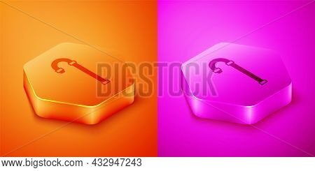 Isometric Walking Stick Cane Icon Isolated On Orange And Pink Background. Hexagon Button. Vector