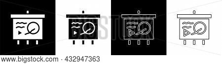 Set Scenario On Chalkboard Icon Isolated On Black And White Background. Script Reading Concept For A