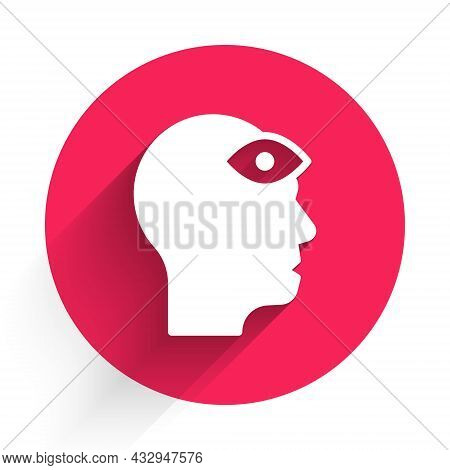 White Man With Third Eye Icon Isolated With Long Shadow. The Concept Of Meditation, Vision Of Energy