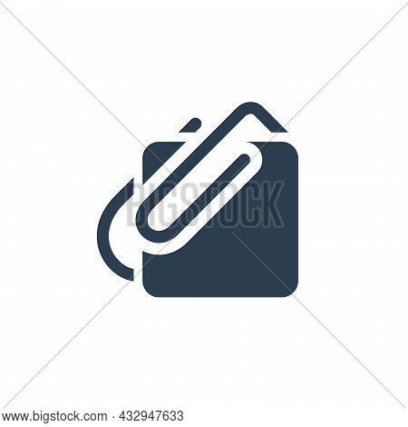 Attach, Paper Clip Solid Flat Icon. Vector Illustration