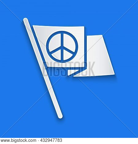 Paper Cut Peace Icon Isolated On Blue Background. Hippie Symbol Of Peace. Paper Art Style. Vector