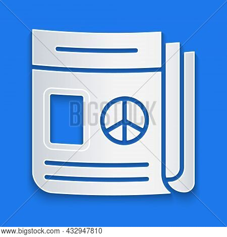 Paper Cut News Icon Isolated On Blue Background. Newspaper Sign. Mass Media Symbol. Paper Art Style.