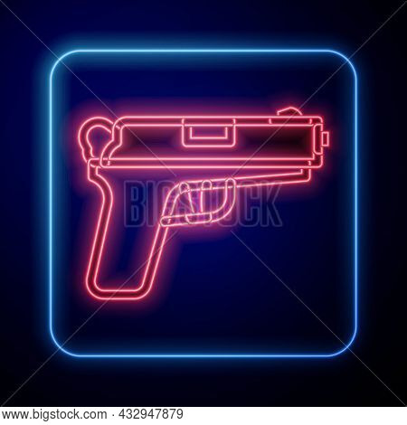 Glowing Neon Pistol Or Gun Icon Isolated On Black Background. Police Or Military Handgun. Small Fire