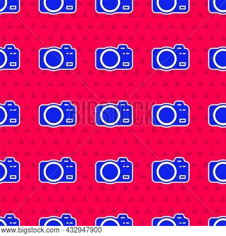 Blue Photo Camera Icon Isolated Seamless Pattern On Red Background. Foto Camera. Digital Photography