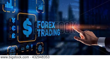 Inscription Forex Trading On Virtual Screen. Business Stock Market Concept