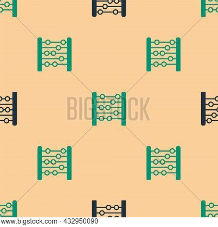 Green And Black Abacus Icon Isolated Seamless Pattern On Beige Background. Traditional Counting Fram