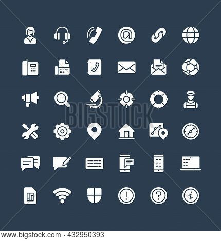 Vector Solid Icons Set With Contact Us, Technical Support Service Flat Symbols.
