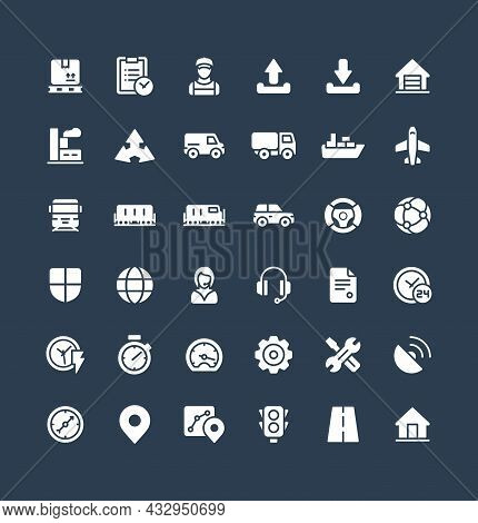 Vector Solid Icons Set With Logistic, Delivery Business, Distribution Flat Symbols.