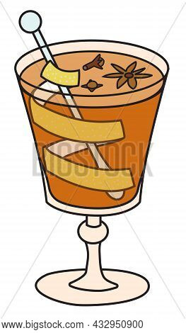 Hot Grog Cocktail. Stylish Hand-drawn Doodle Cartoon Style Christmas Winter Or Autumn Warm Drink In