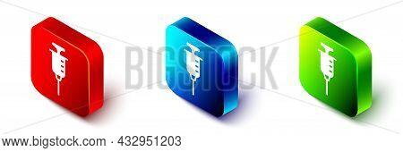 Isometric Syringe Icon Isolated On White Background. Syringe For Vaccine, Vaccination, Injection, Fl