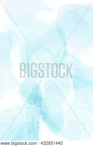 Pastel Cyan Mint Liquid Marble Watercolor Background. Teal Turquoise Marbled Alcohol Ink Drawing Eff