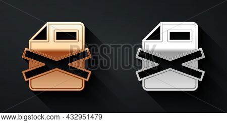Gold And Silver Delete File Document Icon Isolated On Black Background. Rejected Document Icon. Cros
