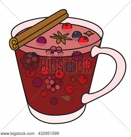 Hot Berry Punch Cocktail. Stylish Hand-drawn Doodle Cartoon Hipster Style Christmas Winter Or Autumn
