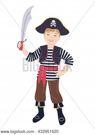 Smiling Boy Dressed In Pirate Costume Isolated On White. Sea Robber Costume For Carnival, New Year O