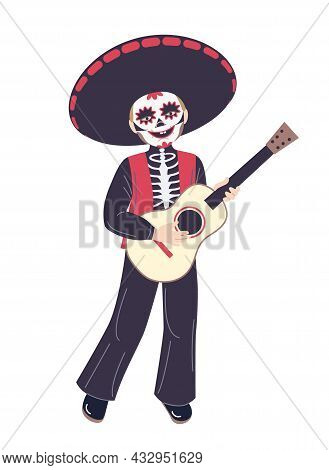 Smiling Boy Dressed In Skeleton Mexican Costume Isolated On White.  Skeleton Character In  Costume F