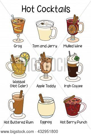 A Collection Set Of Traditional Hot Warm Cocktails. A4 Standard Paper Size Vector Illustration Good