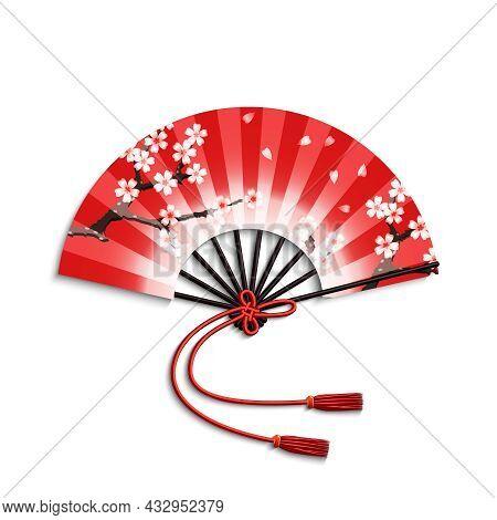 Realistic Japanese Folding Fan With Sakura Flowers Ornament Isolated On White Background Vector Illu