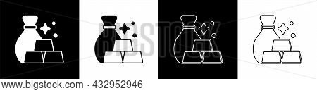 Set Bag Of Gold Bars Icon Isolated On Black And White Background. Sack With Golden Bars. Vector