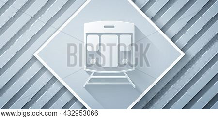Paper Cut Train And Railway Icon Isolated On Grey Background. Public Transportation Symbol. Subway T