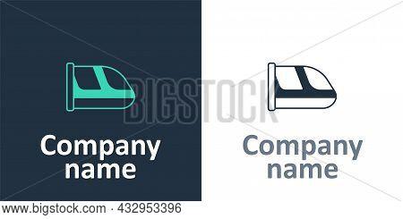 Logotype Train And Railway Icon Isolated On White Background. Public Transportation Symbol. Subway T