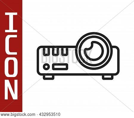Black Line Presentation, Movie, Film, Media Projector Icon Isolated On White Background. Vector
