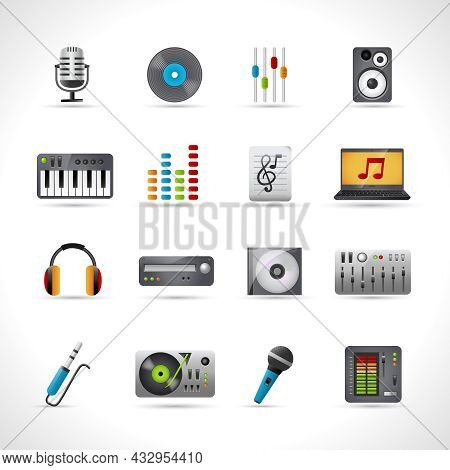 Dj Icons Set With Microphone Vinyl Disk Mixer Loudspeaker Isolated Vector Illustration