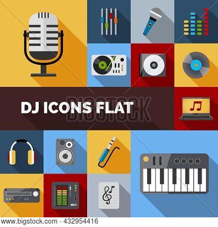 Dj Audio Music Equipment Decorative Icons Flat Set Isolated Vector Illustration