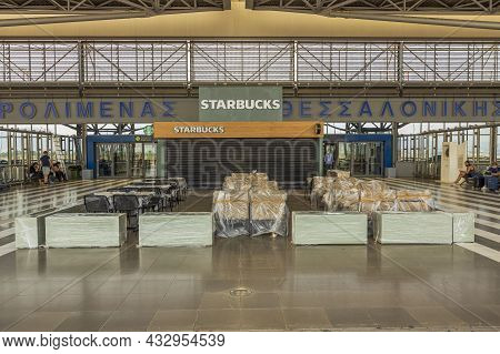 Exterior View Of Closed Starbucks Coffee Restaurant At Thessaloniki Airport During Covid-19 Pandemic