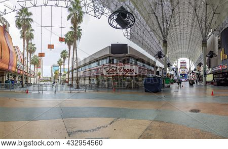 Las Vegas, Usa - March 10, 2019: Panoramic View Of Fremont Street With Casinos In Early Morning In L