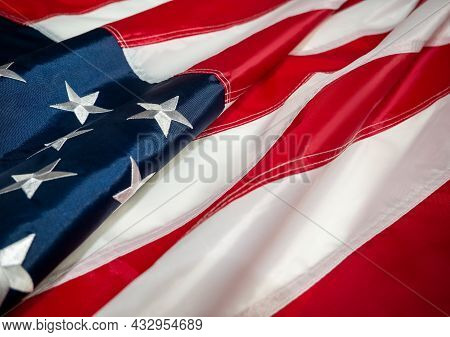 American Flag Of The Usa. Independence Day On July 4, Memorial Day, Veterans Day, Labour Day. Blur