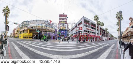 Las Vegas, Usa - March 10, 2019: Fremont East District With Neon Sculptures, Casinos And Parking In