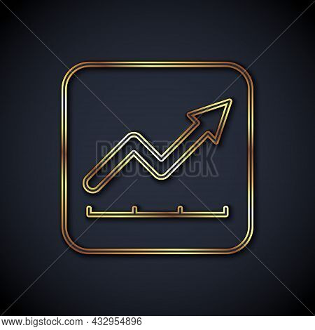 Gold Line Financial Growth Increase Icon Isolated On Black Background. Increasing Revenue. Vector