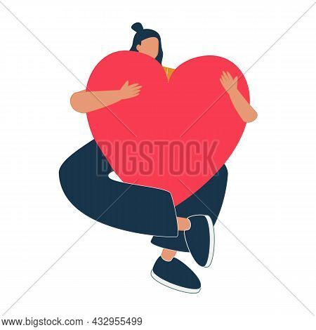 Young Woman Embraces A Big Red Heart With Mindfulness And Love. Smiling Female Character Sits In Lot