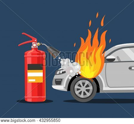 The Fire Extinguisher Extinguishes The Car. Fire Safety. Flat Vector Illustration.