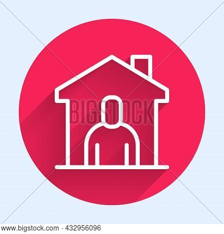 White Line Shelter For Homeless Icon Isolated With Long Shadow Background. Emergency Housing, Tempor