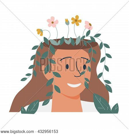 Mental Health, Happiness, Harmony Creative Abstract Concept. Happy Female Heads With Flowers Inside.
