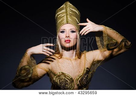 Young model in personification of egyptian beauty