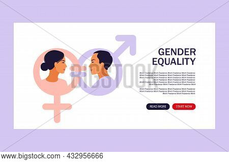 Gender Equality Concept. Landing Page For Web. Men And Women Character On The Scales For Gender Equa