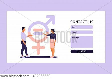 Gender Equality Concept. Contact Us Form For Web. Men And Women Character On The Scales For Gender E