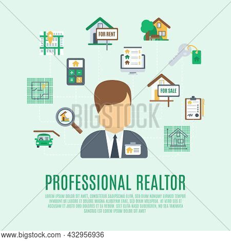 Real Estate Concept With Professional Realtor Avatar And Property Symbol Vector Illustration