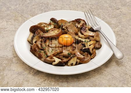 grilled mushrooms with egg yolk, Spanish tapas cuisine
