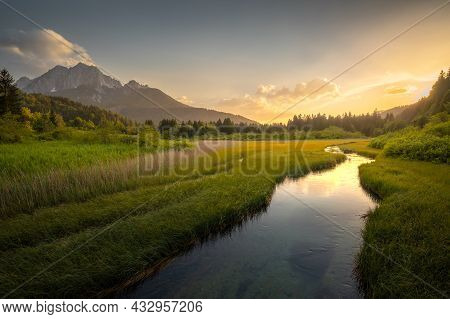 Summer Morning At The Zelenci Lake In Kranjska Gora, Slovenia.