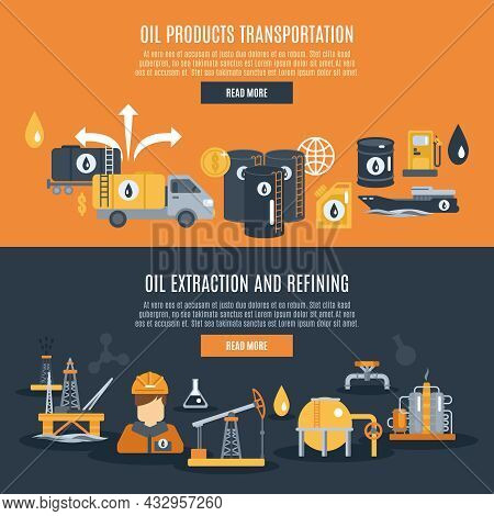 Oil Industry Horizontal Banner Set With Extraction Refining And Transportation Elements Isolated Vec