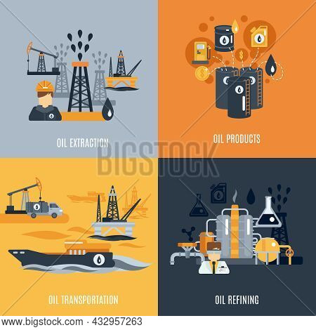 Oil Industry Design Concept Set With Products Extraction Transportation And Refining Flat Icons Isol