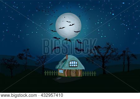 Halloween Night Background With House, Full Moon, Starry Sky, Tree Silhouette And Bats. Horror Witch