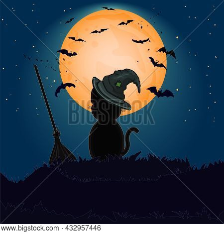 Halloween Black Cat With Witch Hat Against Full Moon On Hill. Halloween Night Background With Kitty